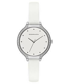 BCBGMAXAZRIA Ladies White Leather Strap Watch with White Dial with Silver Case, 34mm
