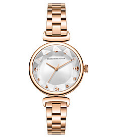 BCBG MaxAzria Ladies Rose GoldTone Bracelet with Facet Dial, 32MM