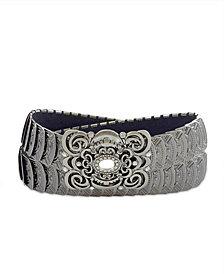 Fashion Focus Accessories Stretch Metal Filigree Buckle Belt