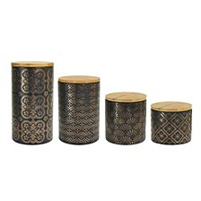 Metal Gold Canister, Set of 4