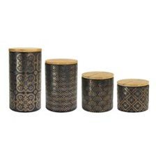 Jay Imports Metal Gold Canister, Set of 4