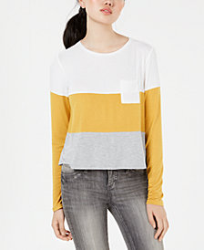 Love, Fire Juniors' Patch Pocket Striped Top