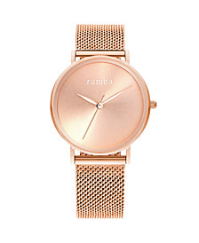 RumbaTime Lafayette Sunray Rose Gold Mesh Women's Watch