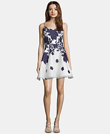 XSCAPE Embellished Floral-Print Fit & Flare Dress