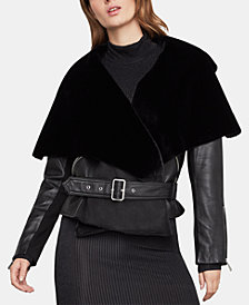 BCBGMAXAZRIA Faux-Shearling Leather Moto Jacket
