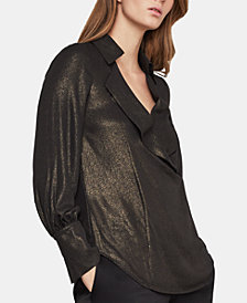 BCBGMAXAZRIA Foiled-Georgette Wide-Lapel Top