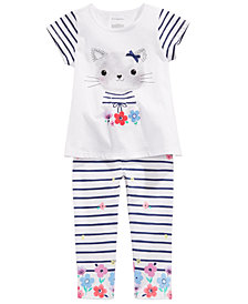 First Impressions Baby Girls Kitty-Print T-Shirt & Striped Leggings, Created for Macy's