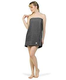 100% Turkish Cotton Terry Personalized Women's Bath Wrap - Dark Grey