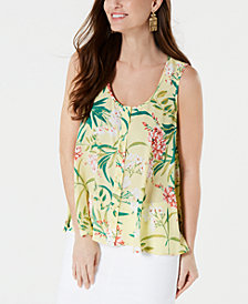 Style & Co Printed Sleeveless High-Low Swing Top, Created for Macy's