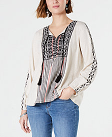 Style & Co Cotton Embroidered Tunic Blouse, Created for Macy's