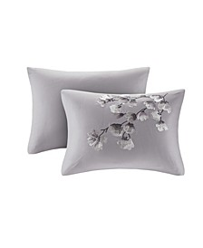 "Sakura Blossom 12"" x 20"" Embroidered Cotton Oblong Decorative Pillow"
