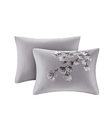 "N Natori Sakura Blossom 12"" x 20"" Embroidered Cotton Oblong Decorative Pillow"