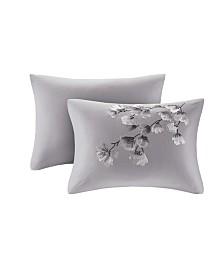 "N Natori Sakura Blossom 12"" x 20"" Embroidered Cotton Oblong Decorative Pillow"