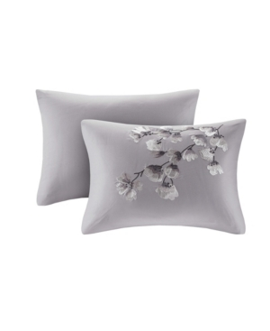 "Image of N Natori Sakura Blossom 12"" x 20"" Embroidered Cotton Oblong Decorative Pillow Bedding"