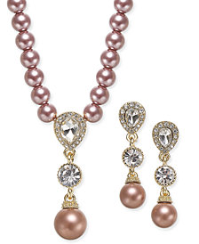 Charter Club Gold-Tone Crystal & Imitation Pearl Lariat Necklace and Drop Earrings Set, Created for Macy's