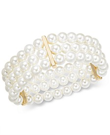 Gold-Tone Imitation Pearl Triple-Row Stretch Bracelet, Created for Macy's