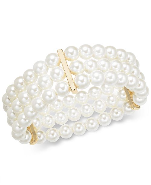 Charter Club Gold-Tone Imitation Pearl Triple-Row Stretch Bracelet, Created for Macy's