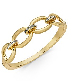 Charter Club Gold-Tone Pavé Link Bangle Bracelet, Created for Macy's