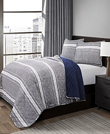 Marlton Stripe 3-Pc Set Full/Queen Quilt Set
