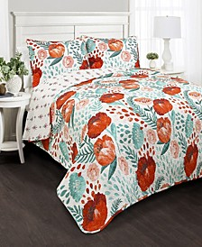 Poppy Garden 3-Pc Set Full/Queen Quilt Set