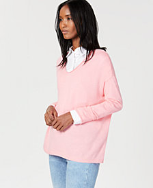 Charter Club Cashmere Rolled V-Neck Sweater, Created for Macy's