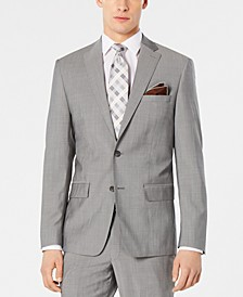 Men's Modern-Fit Stretch Light Gray Suit Jacket