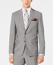 DKNY Men's Modern-Fit Stretch Light Gray Suit Jacket