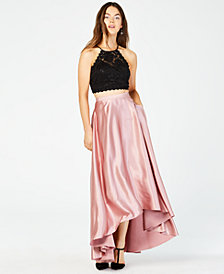 Sequin Hearts Juniors' 2-Pc. Lace Top & High-Low Skirt