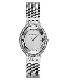Ladies Silver Tone Mesh Bracelet Watch with Silver Dial, 35mm