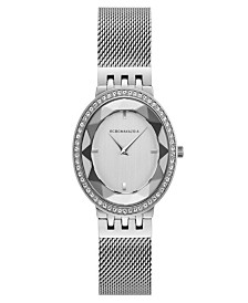 BCBGMAXAZRIA Ladies Silver Tone Mesh Bracelet Watch with Silver Dial, 35mm