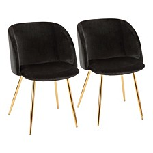 Fran Chair in Gold Metal and Velvet Set of 2