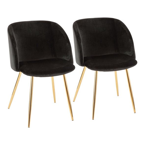 Lumisource Fran Chair in Gold Metal and Velvet Set of 2