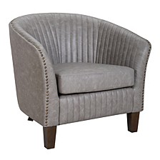 Shelton Club Chair in Light Faux Leather