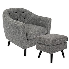 Rockwell Accent Chair and Ottoman in Light Noise Fabric