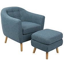 Lumisource Rockwell Accent Chair and Ottoman in Light Noise Fabric