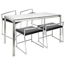 Lumisource Fuji 5 Piece Dining Set in Stainless Steel and Faux Leather