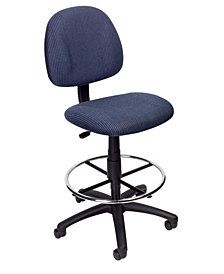Boss Office Products Contoured Comfort Adjustable Rolling Drafting Stool Chair