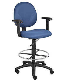 Boss Office Products Drafting Stool with Adjustable Arms