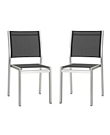 Shore Side Chair Outdoor Patio Aluminum Set of 2 Black