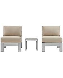 Shore 3 Piece Outdoor Patio Aluminum Sectional Sofa Set Orange