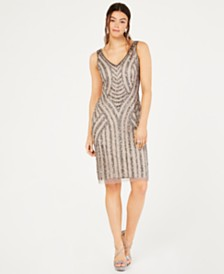 Adrianna Papell Beaded Short Sheath Dress