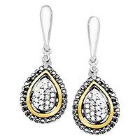 Diamond Teardrop Earrings in 14k Gold and Sterling Silver (1/8 ct. t.w.)