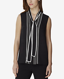 Tahari ASL Contrast-Piping Tie-Neck Blouse