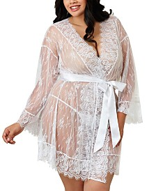 Dreamgirl Plus Size Lace Kimono Robe