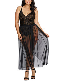 Plus Size Mosaic Lace Teddy and Sheer Skirt