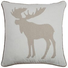 """Rizzy Home 18"""" x 18"""" Moose Pillow Cover"""