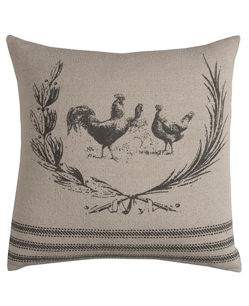 """Rizzy Home 20"""" x 20"""" Rooster Pillow Cover"""