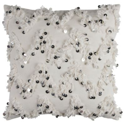 """20"""" x 20"""" Textured Fringe and Sequinned Pillow Cover"""