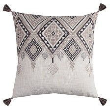 """Rizzy Home 20"""" x 20"""" Tribal Aztec Design with Tassels Pillow Cover"""