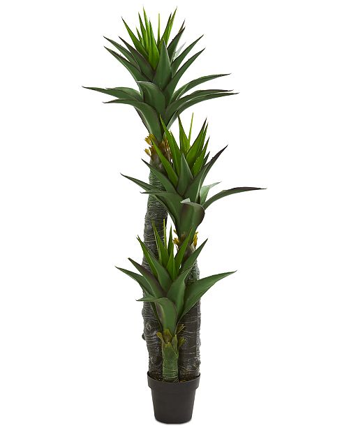 Nearly Natural 5' Decorative Yucca Artificial Tree in Black Planter